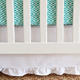 Oliver B Crib Skirt in White with Gathered Trim