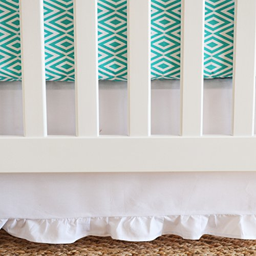 Oliver B Pure Crib Skirt with Gathered Trim, White - 1
