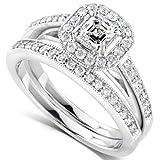 5/8 Carat TW Asscher Diamond Engagement Ring and Wedding Band Set 14k White Gold - Size 6