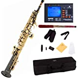 Mendini by Cecilio MSS-BNG+92D Black Nickel Plated and Gold Keys Straight B Flat Soprano Saxophone with Tuner, Case, Mouthpiece, 10 Reeds and More