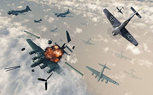 B-17 Flying Fortress bombers encounter German Focke-Wulf 190 fighter planes. 16 x 20 Poster