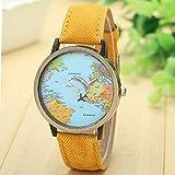 DDLBiz New Global Travel By Plane Map Women Dress Watch Denim Fabric Band (Yellow)