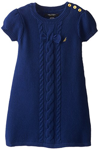 Nautica Little Girls' Solid Sweater Dress With Bow And Cable Detail And Gold Button Shoulder Placket, Medium Navy, 3T