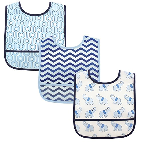 luvable-friends-3-piece-waterproof-bibs-with-crumb-catcher-blue-elephant