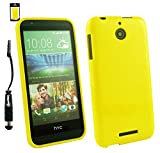 Emartbuy® Stylus Pack For HTC Desire 510 LCD Screen Protector + Metallic Mini Black Stylus + Shiny Gloss Gel Skin Case Cover Yellow