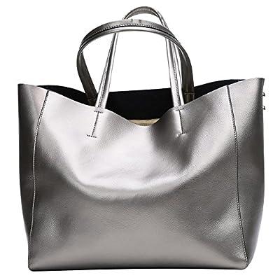 S-ZONE Sac a main fashion en cuir veritable sac fourre-tout sac d'epaule