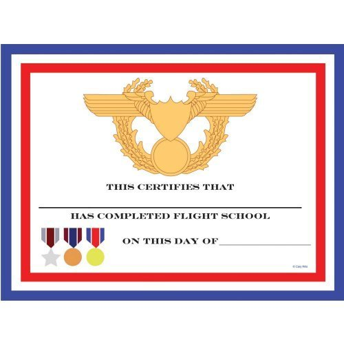 Fighter Pilot Party Favors- Flight School Certificates - 12pack