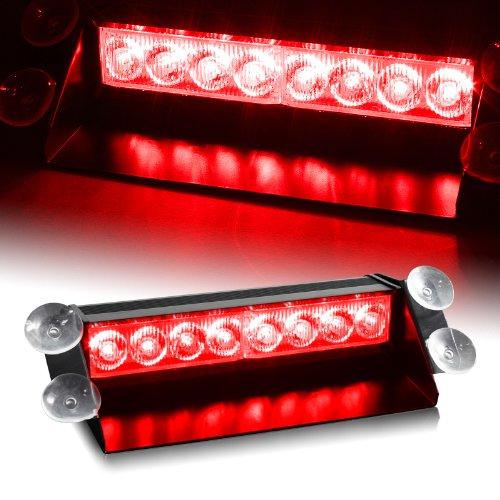 Red Generation 3 Led Law Enforcement Use Strobe Lights For Interior Roof / Dash / Windshield