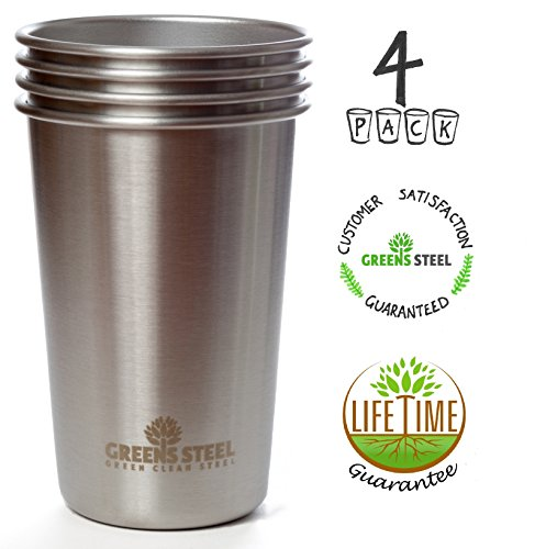 #1 Premium Stainless Steel Cups 16oz Pint Cup Tumbler (4 Pack) By Greens Steel - Premium Metal Drinking Glasses - Stackable Durable Cup (Aluminum Cups compare prices)