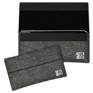 SIMON PIKE Hülle Handytasche NewYork 1 anthrazit für Huawei ASCEND G700 aus Filz