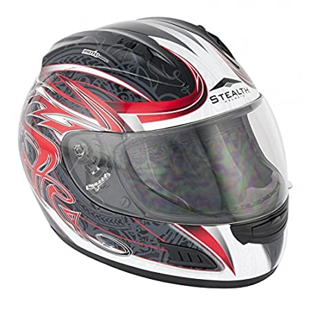 Nouveau  Hd118 moto furtif du casque Full Face noir de plat rouge Slayer