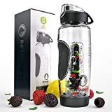Infusion Pro 32 oz. Infused Water Bottle bpa Free with Insulated Sleeve & Fusion eBook :: Bottom Loading, Large Cage for More Flavor & Pulp Strainer :: Delicious, Healthy Way to Up Your Water Intake (Color: Carbon Black, Tamaño: 32 oz.)