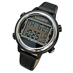 Global Assistive Devices VibraLITE 12 Vibrating Watch with Black Leather Band from Global Assistive Devices