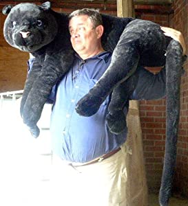 "Giant Stuffed Black Panther 46"" Realistic Big Plush Jungle Stuffed Animal - 46"" Body and 36"" Tail - Very Squishy-soft"