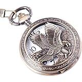 ShoppeWatch Eagle Design Pocket Watch With Chain Quartz Movement Arabic Numerals Half Hunter Vintage Design PW-65