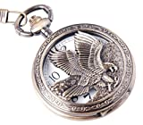 Eagle Design Pocket Watch With Chain Quartz Movement Arabic Numerals Half Hunter Vintage Design PW-65