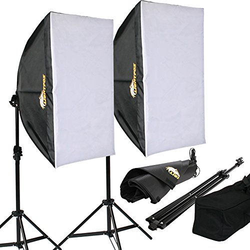 Lightfox Lampada fotografica luce per studio fotografico kit illuminazione daylight softbox con stativo borsa (set 2)