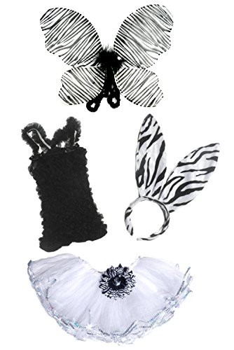 4 Pc Adorable Toddler Zebra Costume with Detachable Flower Hair Clip