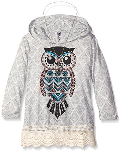 Beautees Big Girls' Hoody Withowl Scrn, Grey, Small
