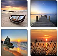 "Picture 6608 - art on canvas nature 4 x 12 x 12"", four-part parts XXL Pictures completely framed on large frame. Art print Images realised as wall picture on real wooden framework. A canvas picture is much less expensive than an oil painting poster or pla"