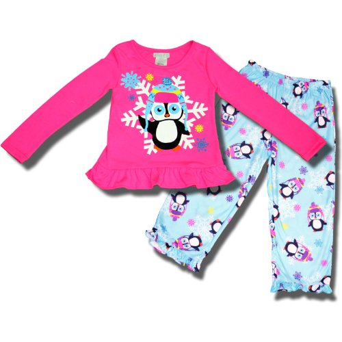 2 Piece Penguin Playing In The Snowflakes Pajama Set For Girls - 6/6X front-1067369