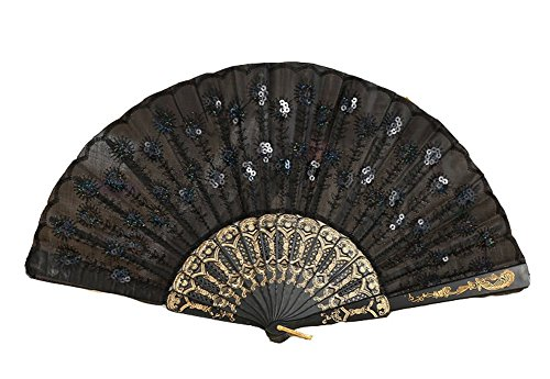 Ocharzy Sequins Embroidered Flower Pattern Cloth Folding Hand Fan (Black)
