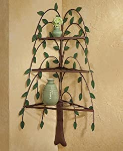 amazoncom primitive willow tree decorative corner shelf With kitchen cabinets lowes with metal willow tree wall art