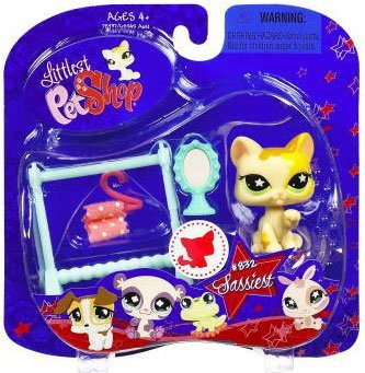 Buy Low Price Hasbro Littlest Pet Shop Assortment 'B' Series 2 Collectible Figure Cat with Clothes Rack and Mirror (B001R63KQC)