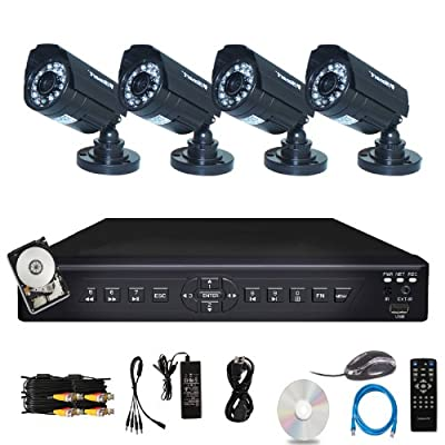 iSmart 4 Channel H.264 CCTV Security Surveillance HDMI Motion Recording DVR with 500GB HDD & 4 Outdoor Weatherproof IR Night Vision 700TVL Bullet Cameras (D6104FH + 500GB + C1030DP7x4)