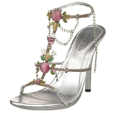 Pleaser Women's Eclair 26 Sandal,Silver Metallic Polyurethane,5 M US