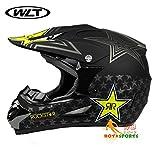 バイクヘルメット オフロード 軽量ヘルメット モンスターエナジー ゴーグル付き[星・黒(艶消し)/XL]