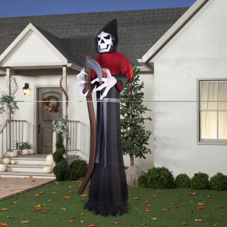 [Gemmy Airblown Inflatable 12' X 4' Giant Grim Reaper Halloween Decoration] (Poseidon Greek God Costume)