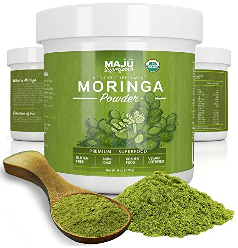 Maju s Organic Moringa Powder: Guaranteed Purest, USDA Organic, 100% Raw Premium Moringa Oleifera Leaf Powder