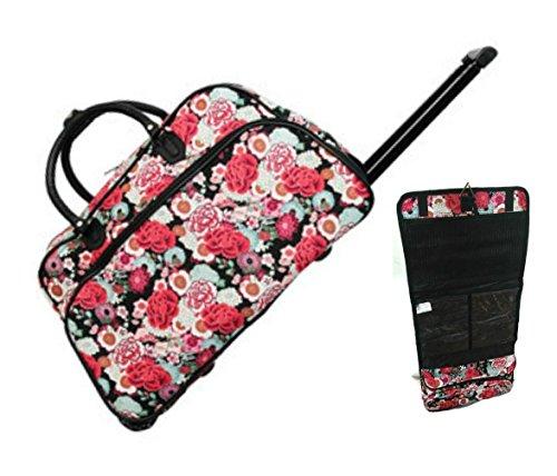 red-rose-21-rolling-duffel-bag-set-1-duffle-bag-with-1-cosmetic-bag