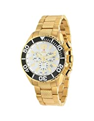 Swiss Precimax Men's SP12015 Deep Blue Precision Reserve White Dial with Gold Stainless-Steel Band Watch