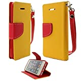 myLife Mustard Yellow + Ketchup Red {Hipster Design} Faux Leather (Card, Cash and ID Holder + Magnetic Closing) Slim Wallet for the iPhone 5C Smartphone by Apple (External Textured Synthetic Leather with Magnetic Clip + Internal Secure Snap In Hard Rubberized Bumper Holder)