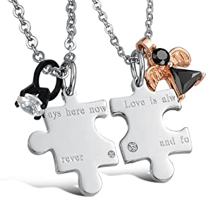 """3Aries Fashion Silver Titanium Stainless Steel """"ays here now;ever"""" Love Puzzle w/ Rhinestone Black Stone Ring Men Pendant Couple Necklaces"""