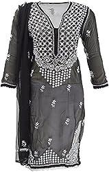 AKS Lucknow Women's Regular Fit Kurti (TK-24_42, BLACK, 42)