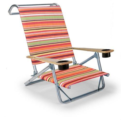 Telescope Casual The Original Mini-Sun Chaise Folding Beach Arm Chair With Cup Holders, Cantina