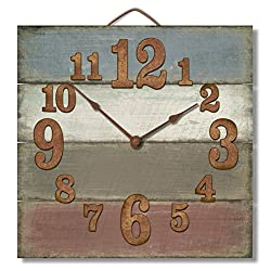 Highland Graphics 12 Rustic Antique Color Stripes Wall Clock Made in USA from Reclaimed Wood Slats