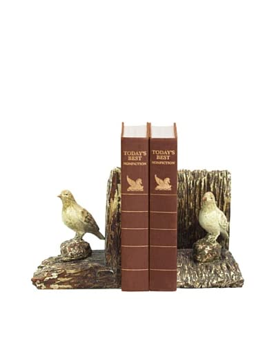 Artistic Pair of Woodland Bird Bookends, Brown