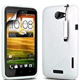 ONX3 HTC ONE X Solid White S Line Wave Gel Case Skin Cover + White Mini Stylus Pen + LCD Screen Protector Guard
