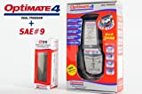 【tecMATE[テックメート]】 バッテリーチャージャー OPTIMATE4 Dual オプティメイト4 デュアル & SAE#9 シガーDCケーブル 12V対応 3年保証55662