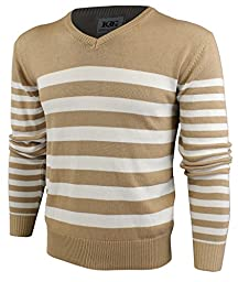Enimay Mens Striped V-Neck Golf Long Sleeve Sweater Khaki White Medium