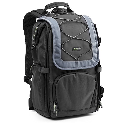 Evecase DSLR Digital Camera Backpack – Black and Gray