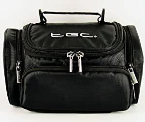 New TGC ® Jet Black Deluxe Shoulder Carry Case Bag for the Panasonic DMC-FZ200 Camera & Accessories - Cables - Charger - Batteries - Memory Card - Etc.
