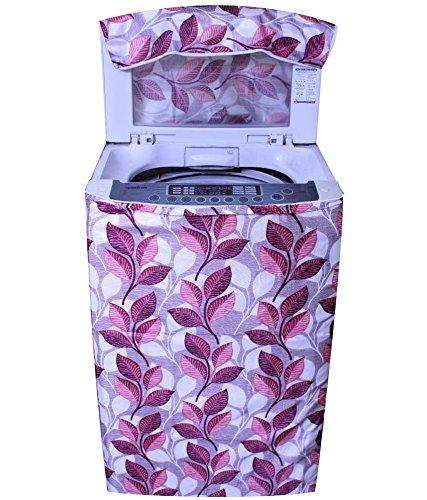 E Retailer Classic Pink Colour With Big Leaves Design Top Load Washing Machine Cover
