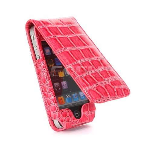 Ecell   NEW PINK CROCO LEATHER FLIP CASE FOR APPLE iPHONE 4 4G