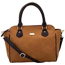 Yelloe Tan Handbag with Crossbody Strap with multi compartments