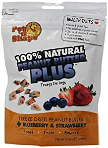 Pet 'n Shape Freeze Dried Peanut Butter PLUS Treats for Dogs, Blueberry and Strawberry, 100 Percent Natural, 3 Pack of 2-Ounce Bags